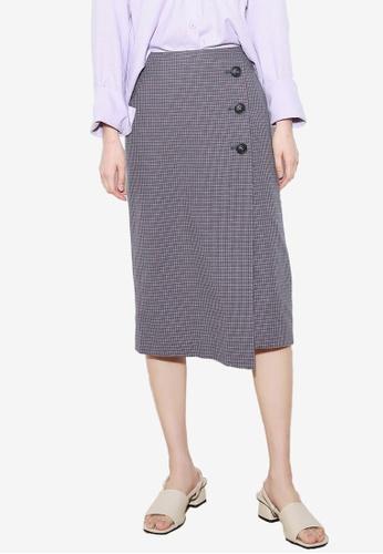 NAIN navy Check Button Wrap Skirt 324BFAA7355EE9GS_1