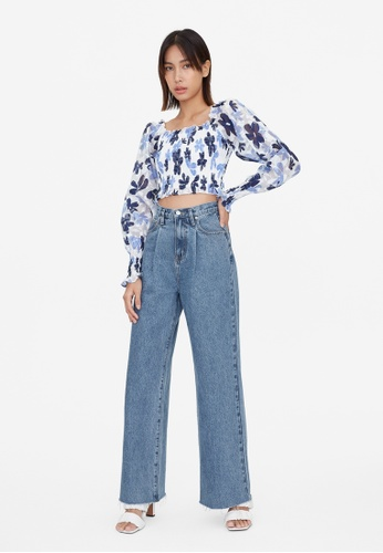 Pomelo blue Floral Smock Bishop Crop Top - Blue AB500AA088251AGS_1