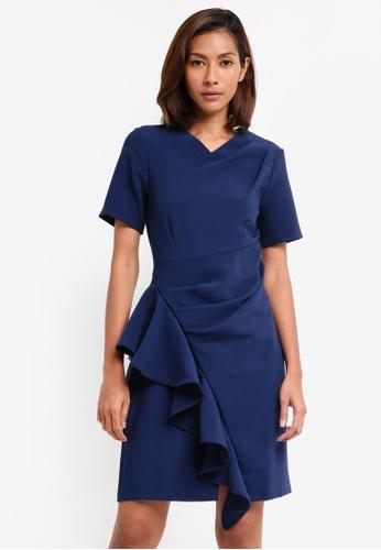 CLOSET navy Asymmetric Pleated Dress D6F73AADA87870GS_1
