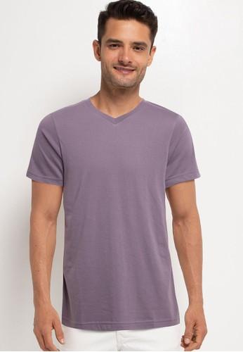 Tolliver purple V Neck Basic Short Sleeve Tee F9735AAC7B6C37GS_1