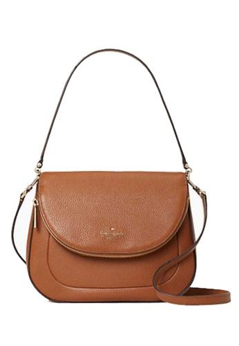 KATE SPADE brown KATE SPADE Leila Medium Flap Shoulder Bag 4FD87AC66E1F96GS_1