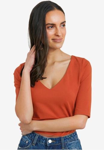 FORCAST brown Lana Elbow Sleeve Tee 9923FAAA1F891EGS_1