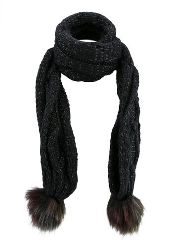 ONLY black Linse Knit Cable Pompom Scarf ON573AC0SEEMMY_1