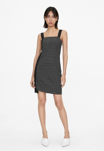Pomelo black Mixed Grid Print Dress - Black 2DF4DAA8434346GS_1