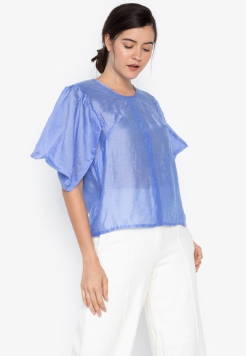 the___edit blue and purple Lily Draped Sleeves Sheer Top C6EE9AAE1DC2E4GS_1