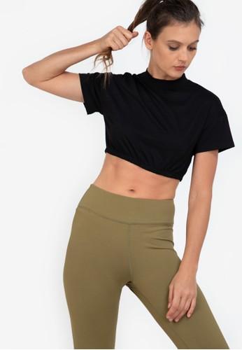 ZALORA ACTIVE black Elastic Banded Crop T-Shirt FD2E3AA8D95FB4GS_1