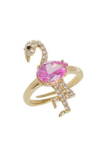 Arte Madrid pink and gold Arte Madrid Tropical Dream Pink Flamingo Ring (Free Size) 3FD0FACB8E5872GS_1