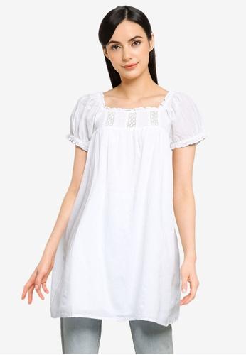 Cotton On white Woven Erica Short Sleeves Mini Tunic 6283DAAB2546EDGS_1