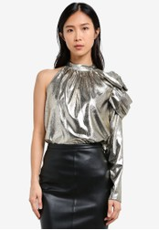 River Island gold One Shoulder Gold Top RI009AA0S9TCMY_1
