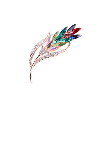 Glamorousky white Fashion Temperament Plated Rose Gold Wheat Brooch with Colorful Cubic Zirconia 4ABB4ACC1CF726GS_1