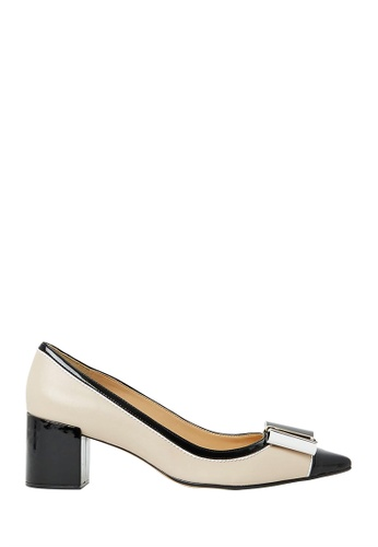 Nina Armando black and white Charis Leather Low Heel NI342SH0FV8OSG_1