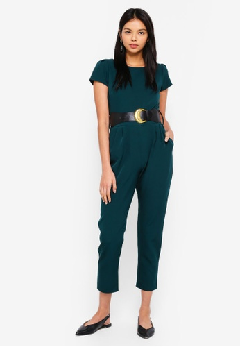 6a1932f7e98 Buy Dorothy Perkins Petite Green Belted Jumpsuit Online on ZALORA ...