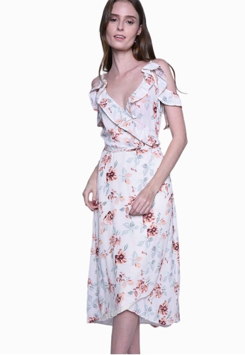 Caoros multi Floral Wrap Dress 617D8AA1D87174GS_1