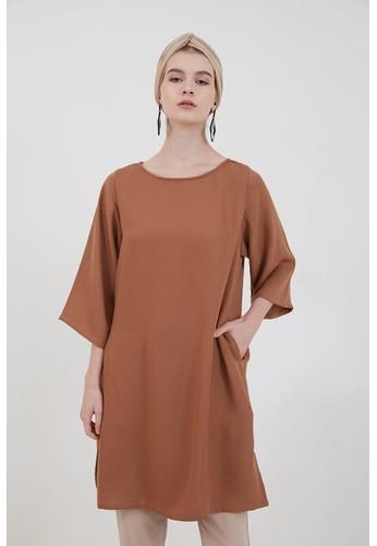Berrybenka Label brown Peggy Plain Midi Dress Brown 6173EAADE28D5CGS_1