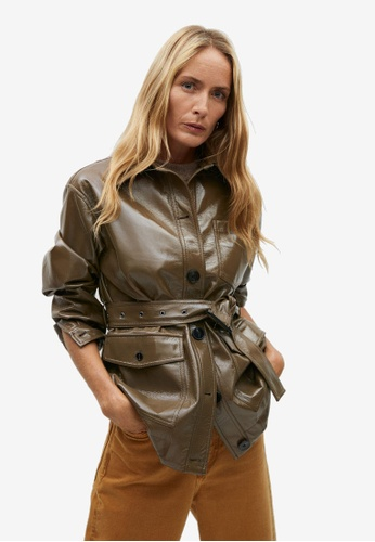 Mango brown Faux Patent Leather Jacket Belt A5AA3AAB50AF34GS_1