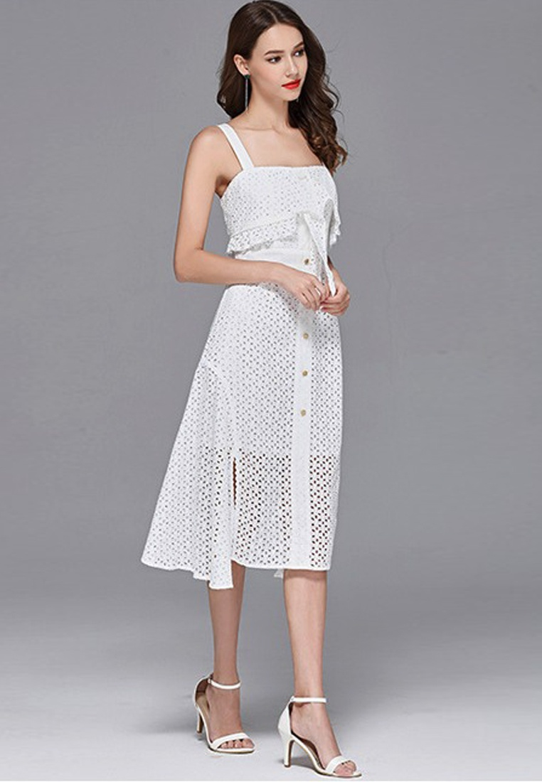 White Broderie Sunnydaysweety CA062925W New Anglaise Dress One 2018 White Piece wqnx4g5EP5