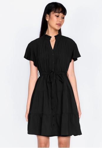 ZALORA BASICS black Ruffle Sleeve Shirt Dress 28B53AA2F51F97GS_1