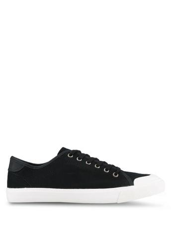 Topman black Black Canvas Rubber Toe Plimsolls TO413SH0S7YWMY_1