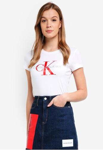 Calvin Klein white A-Satin Monogram Log Tee - Calvin Klein Jeans DE1ACAA8A200C0GS_1