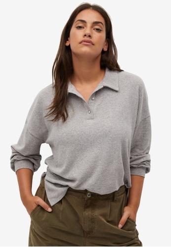 Violeta by MANGO grey Plus Size Polo Style T-Shirt 53185AA4824A14GS_1