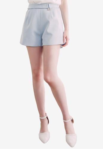 Eyescream blue Buckle Tailored Shorts D2DEBAA04DDC83GS_1