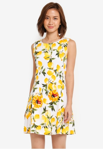 ZALORA white and yellow Fit and Flare Dress with Pleats 484C2AA97AA9A5GS_1