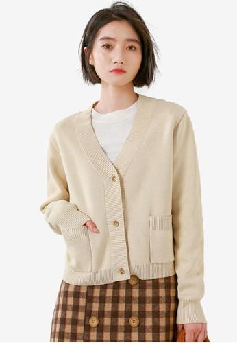 Shopsfashion beige Loose Fit Cardigan AC2D4AADC9DCD5GS_1