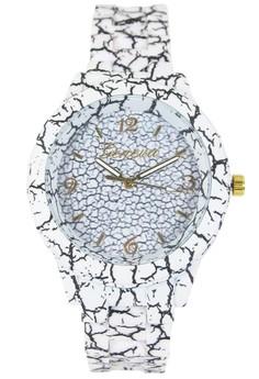 Geneva Cracked Pattern Rubberized Coated Ladies Quartz Watch
