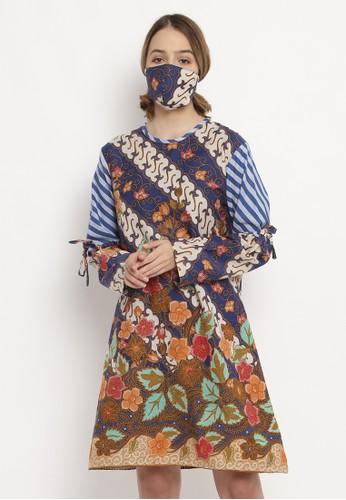 Batik Etniq Craft navy and brown blouse batik wanita asha dua doby blue set masker 68DFFAAD922F7FGS_1