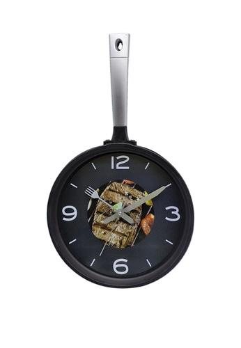 At Home black Kitchen Pan Steak Silent Analog Wall Clock 2F45BHL9346E10GS_1