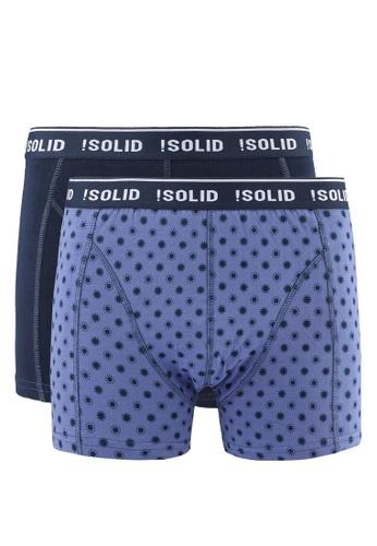 !Solid blue Jerrod Cotton Stretch Trunks 2 Pack SO701US0RU6PMY_1