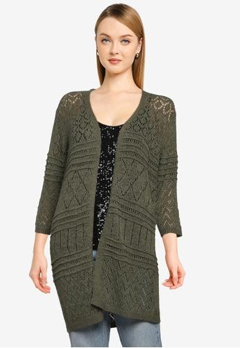 JACQUELINE DE YONG green Kobe 3/4 Knit Cardigan 47125AA7CECA6CGS_1