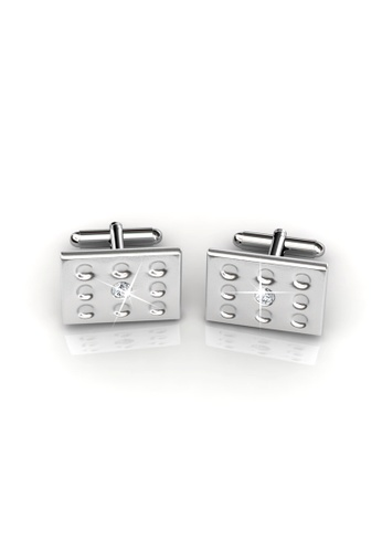 Her Jewellery silver Mr Glossy 1 Cufflinks - Crystals from Swarovski® HE210AC91CIUSG_1