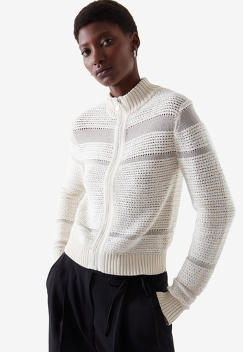 Cos white Cropped Zip-Up Jumper 5FEBDAA5FED933GS_1