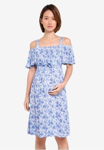 JoJo Maman Bébé blue Maternity Floral Off Shoulder Dress AC7A8AA93142A2GS_1