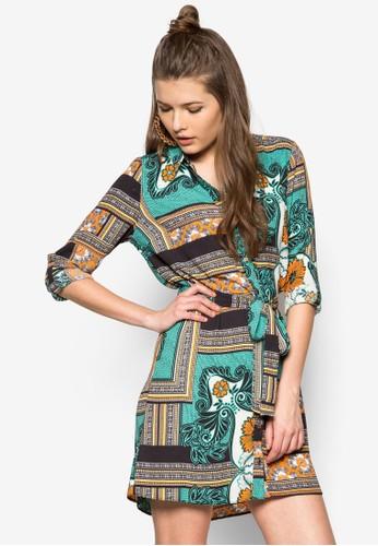 Selinzalora 包包 ptta 印花繫帶襯衫洋裝, 服飾, 服飾