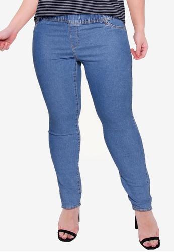 Violeta by MANGO 藍色 大尺碼 休閒緊身褲 F8BD9AA8071D09GS_1