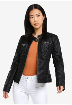 6627bc699706 ONLY black Bandit Faux Leather Biker Jacket 2971DAA8DB3EEEGS 1