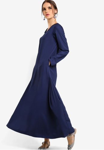 Tsyahmi for ZALORA blue Basic Maxi Dress TS528AA18ZBLMY_1