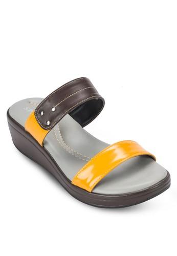 雙色寬帶厚底涼鞋,esprit 香港 女鞋, 楔形涼鞋