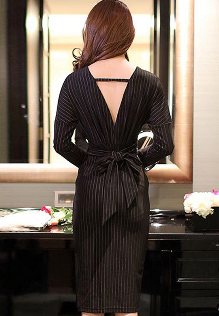 DressUA102318 V 2017Vertical Sunnydaysweety neckline Black Stripes qOtafg