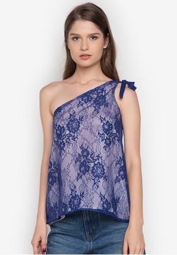 Chelsea blue Jaione One-Shoulder Lace Top CH004AA0JSZ6PH_1