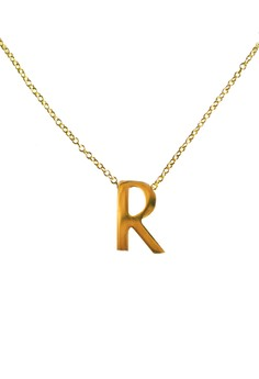 R Stainless Letter Necklace