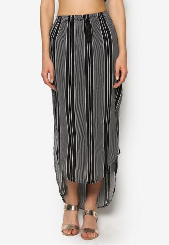 Shirttail 前短後長條紋長裙,esprit地址 服飾, 裙子
