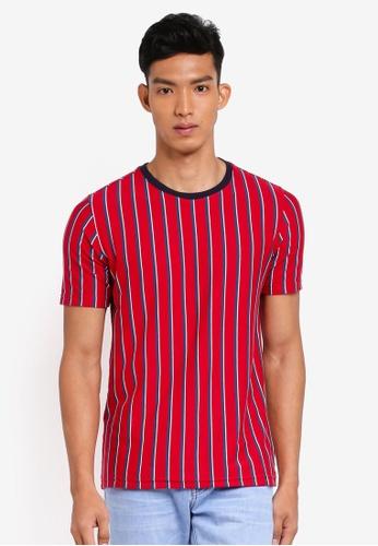 UniqTee 紅色 短袖條紋T恤 D6A44AA284A021GS_1