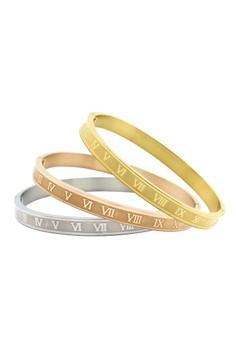Venice Roman Numerals Clip Bangle Set of 3