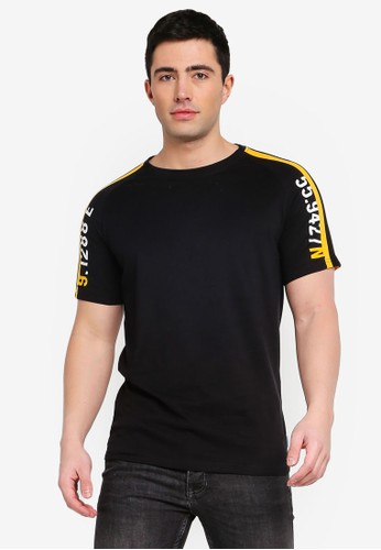 Jack & Jones black Jcocalvin Stripe Sleeve Tee 51743AA2116E51GS_1