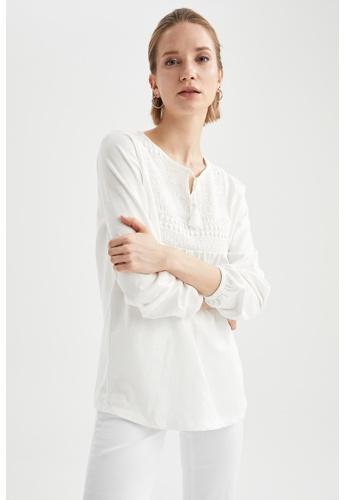 DeFacto beige Long Sleeve Cotton Blouse 5E4A1AA260F47DGS_1