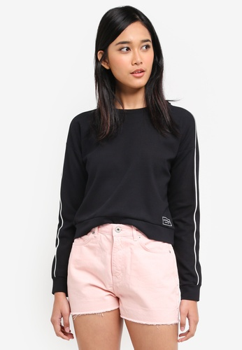 Jack Wills black Hazelgrove Cropped Sweatshirt 5113AAA1D9640BGS_1