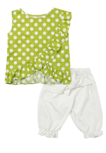 Tiny Button white and green Girl Polca Ruffle Blouse And Bloomers Pants CF1C3KAF6CCB45GS_1